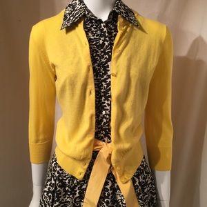J Crew Cotton Cardigan Sweater in Yellow